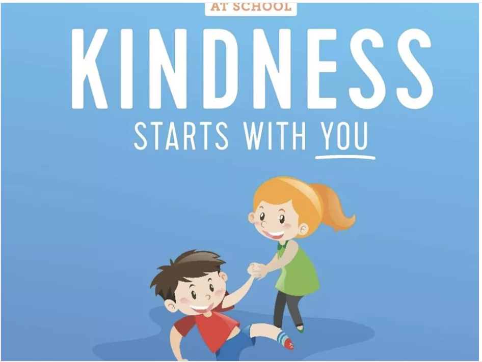 At school, acts of kindness starts with you. A girl helping a boy up from the ground